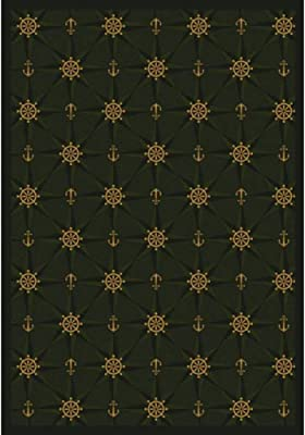 Joy Carpets Kaleidoscope Mariner's Tale Whimsical Area Rugs, 92-Inch by 129-Inch by 0.36-Inch, Emerald