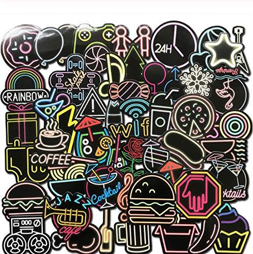 GYYNR 50 Piezas Coloridas Pegatinas de luz de neón Lindo Bar decoración Anime Icono Animal Graffiti calcomanías para monopatín Equipaje portátil Bicicleta Bicicleta