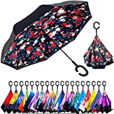 Smart Brella - The World's First Reversible Umbrella (Floral Burst) | Double Layer Inverted Umbrella | Reverse Open Folding Umbrellas with C Hook for hanging on points