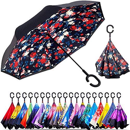 Original Deals Reversible Umbrella With Free Umbrella Pouch (floral burst)