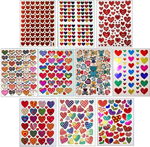 Jazzstick 10-Sheet Valentines Heart Stickers Glitter Red & Colors Value Pack Bulk 02