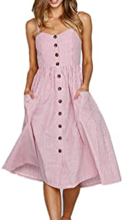 Salimdy Womens Floral Spaghetti Strap Summer Bohemian Front Button Midi Dress with Pockets