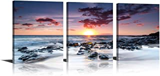 YPY Seascape Wall Art Sunrise Stone Rock Print on Canvas 3 Panels Paintings for Home Decor Living Room Bedroom 12x16in