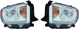Fits Toyota Tundra 2014-2016 Headlight Assembly Halogen Platinum Edition LED Daytime Running Lights Pair Driver and Passenger Side TO2502220, TO2503220