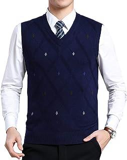Moren Classic Mens V-Neck Wool Sleeveless Jumper Vest Autumn Winter Warm Knitted Gilet Slipover Waistcoat Sweater Tank Tops