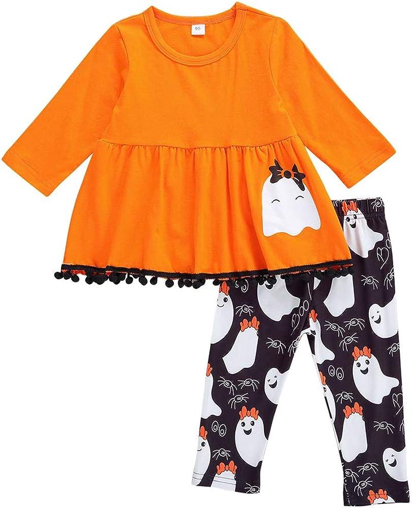 Toddler Baby Girls Halloween Black Dress Outfits Infant Christmas Pumpkin Pants Clothes Set Kids Tassels Tops Dress Suit