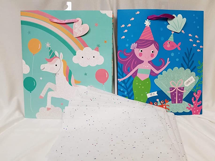 Mermaid & Unicorn Medium Birthday Gift Bag Bundle with Sparkle Tissue (8 Items)