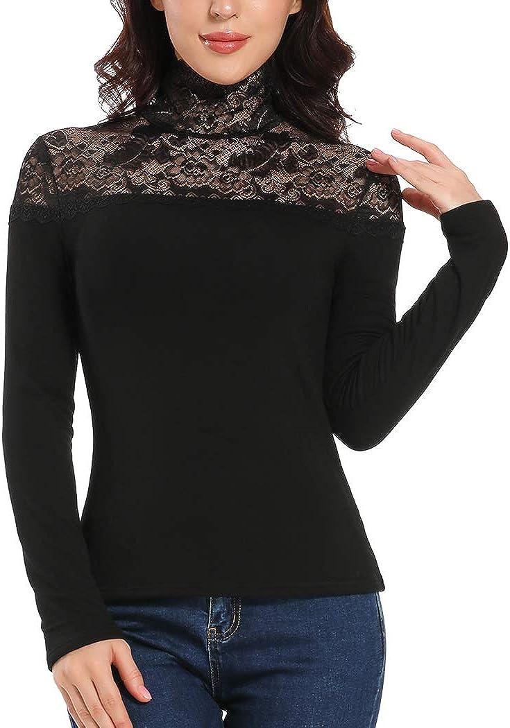 Women's Vintage Lace Mesh High Neck Slim Fit Top Shirt Blouse Thermal Fleece Lined Underwear Black
