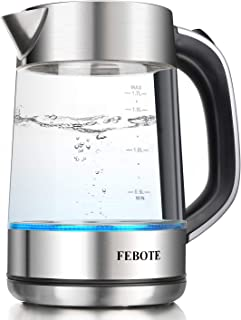 Electric Kettle, FEBOTE 1.7L Electric Glass Tea Kettle (BPA-Free), 100% Stainless Steel 1500 Watts Fast Boiling Water with Blue Led Indicator