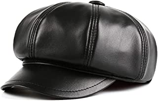 JCCOZ Ladies Hats, Warm Autumn and Winter Hats, Leather Octagonal Cap, Retro Pumpkin Hat British Retro Hats, Women with Jewelry (Color : Black, Size : L)