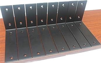 """10 Pack - L 6"""" x H 4"""" x W 1.5"""", 5mm Thick Matte Black L Shelf Bracket, Iron Shelf Brackets, Metal Shelf Bracket, Industria..."""