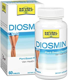 Natural Balance Diosmin 500 mg | Blood Circulation & Vein Health Supplement | Plant-Based Flavonoid | 60 Tabs, 60 Serv.