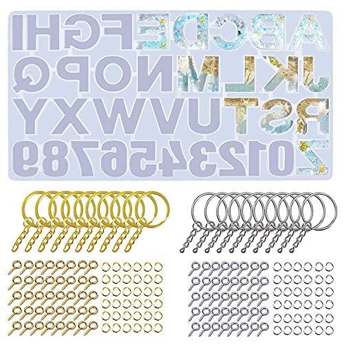 Fransande Juego de 221 moldes de silicona de resina del alfabeto para resina + 20 llaves + 100 pasadores de tornillo + 100 piezas O
