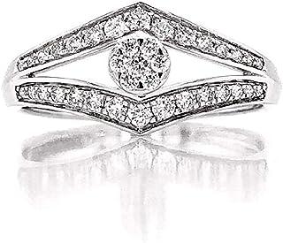 مجوهرات جيا خاتم خطوبة من الذهب الأبيض عيار 14 قيراط للنساء | خواتم الماس للنساء