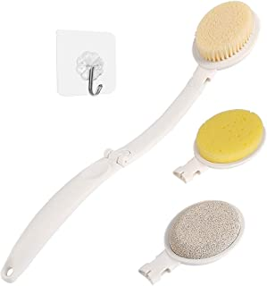 Bath Body Brush Set with Long Handle, 3 in 1 Foldable Shower Brush Back Scrubber with Brush Sponge Pumice Head for Bath an...
