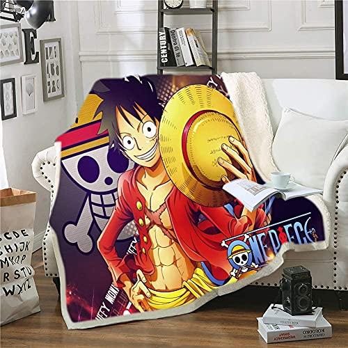 Manta para dormir de One Piece, manta de invierno de anime, manta de peluche, manta de piel de felpa, diseño impreso, manta de sofá de microfibra (A 1,130 x 150 cm)