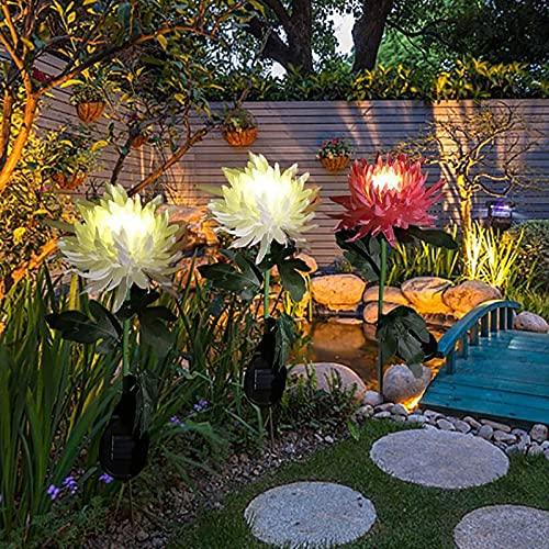 3 Stück solarlampen für außen garten,gartenleuchte lampions wetterfest,solarleuchten gartenstecker,Chrysantheme solar lichter,stehlampe vintage landhaus, für außen boden garten Gehweg deko