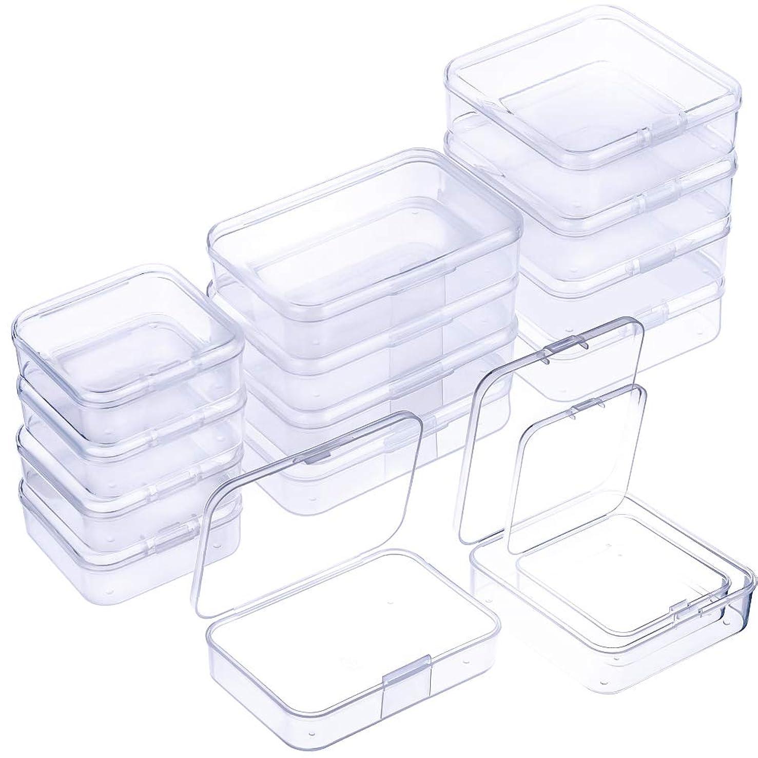 WXJ13 15 Pieces 3 Size Bead Storage Box Plastic Transparent Organizer
