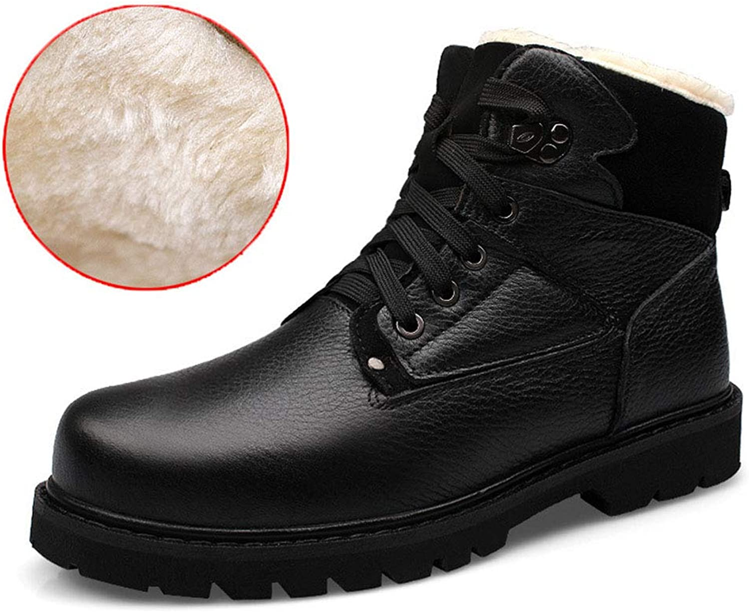 Men's Leather shoes Plus Velvet Keep Warm High-top Non Slip Martin Boots Motorcycle Boots Outdoor shoes (color   B, Size   40)