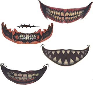 WANZIJING 4Pc Temporary Tattoo, Waterproof Horror Skull Teeth Big Mouth Sticker for Halloween Party Masquerade