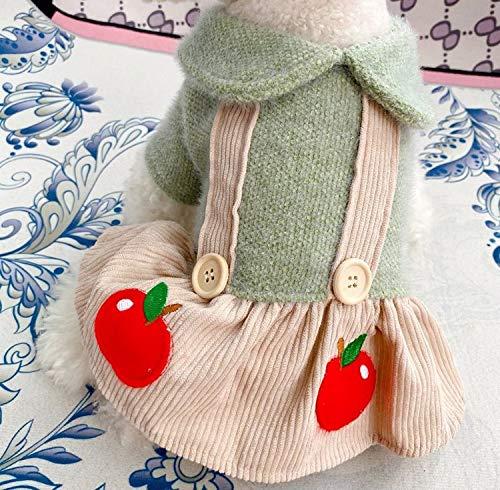 犬の服 カップル ワンピース&四足前開き つりスカート サロペット りんご かわいい つなぎ コスチューム おしゃれペット ドッグウエア ペット服 ワンちゃん服 A (M)