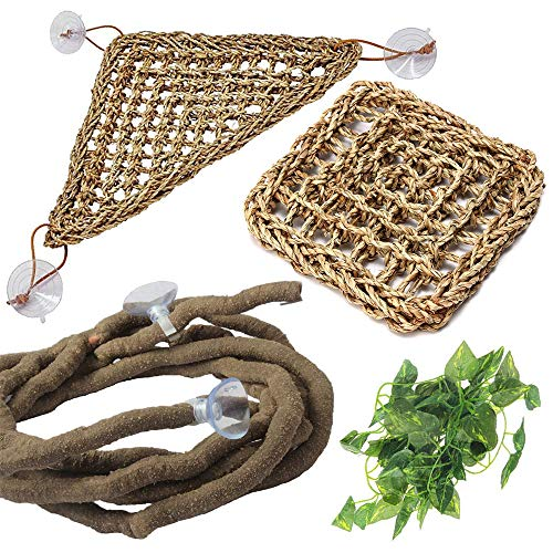PIVBY Bearded Dragon Accessories Lizard Habitat Hammock Flexible Reptile Jungle Vines Leaves Decor with Suction Cups for Climbing, Chameleon, Lizards, Gecko, Snakes