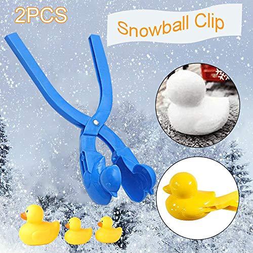 Prtukyt 2 Stücke Schneeball-Clip, Ente Form Schneeballmacher Winter Schnee Scoop Clip Sand Tonformwerkzeug Kinder Spielzeug (Gelb&Blau)