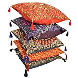 Third Eye Export 16X16 Indian Ethnic Mandala Peacock Bohemian Set of 5 Decorative Colorful Cotton Square for Sofa Set Home Decorative Boho Throw Pillow Case Cushion Cover