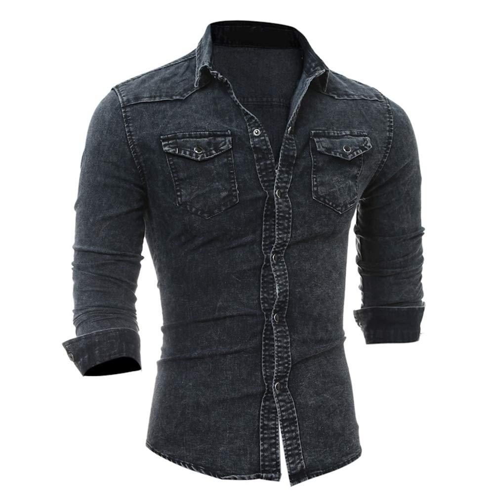 Camisa Vaquera de Manga Larga con Bolsillo de Color sólido
