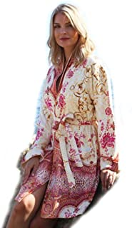 Wrap Up by VP Marrakesh Pink and Orange Microfiber Short Robe, S/M