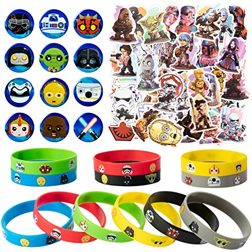 74Pcs Star Wars Bracelets Button Pins Stickers Party Favors Sets Supplies Galaxy War Cartoon Silicone Bracelets Anime Wristbands Space Theme Supplies Baby Shower Birthday Prize Rewards Gift for Kids