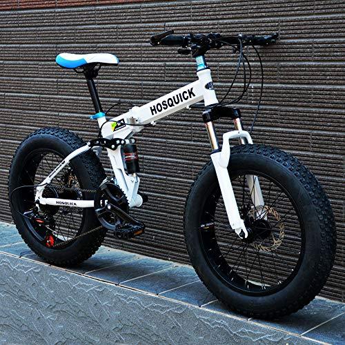 WYX Folding Mountain Bike, Strand Schnee-Fahrrad 26 Zoll Super-Breitreifen Mit Variabler Geschwindigkeit Off-Road-Fahrräder Männliche Und Weibliche Studenten Erwachsene,Weiß,26