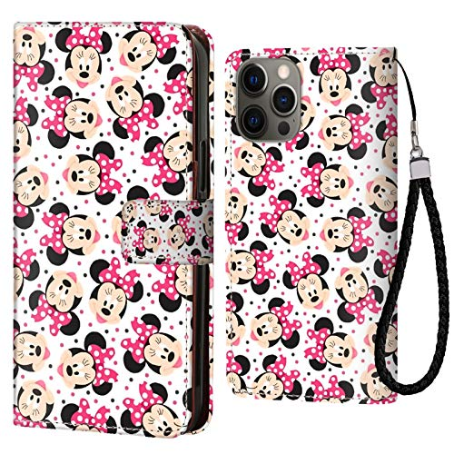 DISNEY COLLECTION Funda tipo cartera para iPhone 12 Pro, diseño de Minnie Mouse de Disney, con tarjetero y cierre magnético, función atril
