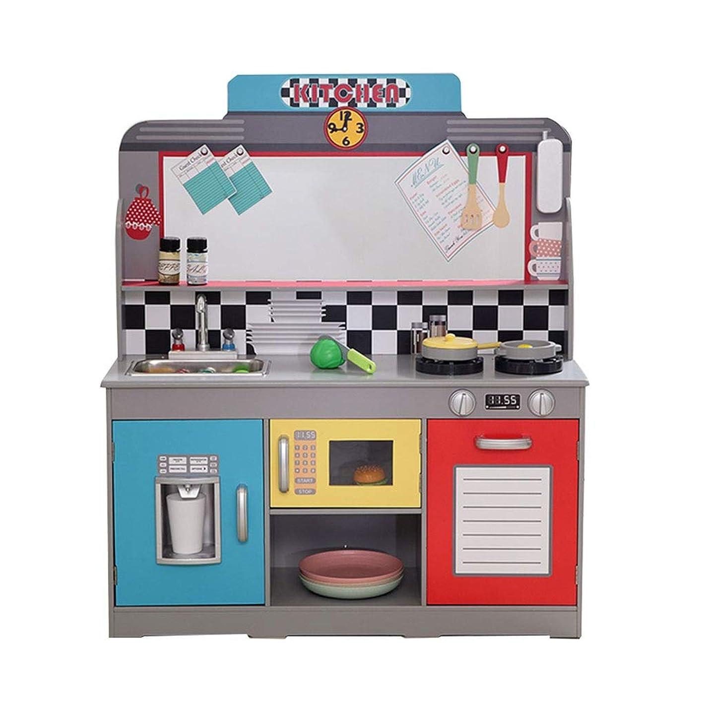 ゲインセイ突撃高音調理器具?食器 ミニキッズキッチンおもちゃ木製キッチンプレイセットクッキングスーツロールプレイング誕生日プレゼント (Color : Blue, Size : 90*30*145cm)