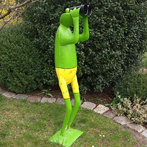 Shophaus24 Große Garten Frosch Figur mit Fernglas. Höhe 1,30 Meter