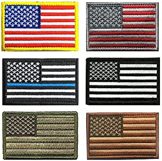 USA American Tactical Patch, Antrix 6 Pack US Flag Thin Blue Line Flag US Army Flag Fully Embroidered Tactical Morale Patches