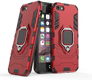 Compatible with iPhone 5 5S SE Case, Metal Ring Grip Kickstand Shockproof Hard Bumper Shell (Works with Magnetic Car Mount) Dual Layer Rugged Cover for Apple iPhone 5, iPhone 5S, iPhone SE (Red)