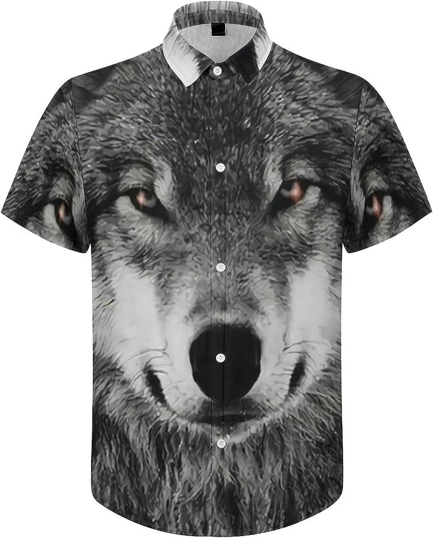 Hawaiian Shirts for Men Wolf Mounatain Printed Beach Shirt Hawaiian Shirts
