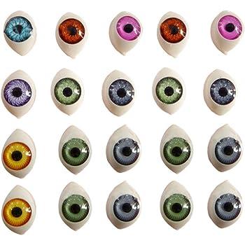 10mm x 14mm 8 paires 4 couleurs poup/ée creuse ovale en plastique faisant des yeux plats /à larri/ère pour le bricolage Fournitures dartisanat marionnette poup/ée