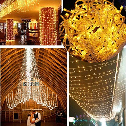 LED lichtketting 10M 20M 30M 50M 100M AC220V Xmas Holiday Light waterdichte kerstverlichting 9 kleuren decoratieve lamp, 10M 100LED (220V EU), GEEL