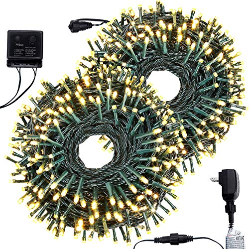 BOLTLINK Outdoor Christmas String Lights, Indoor Outside 600 LED 209ft Christmas Tree Fairy Twinkle Decorative Lights for Halloween Wedding Party Patio Garden Holiday, Warm White