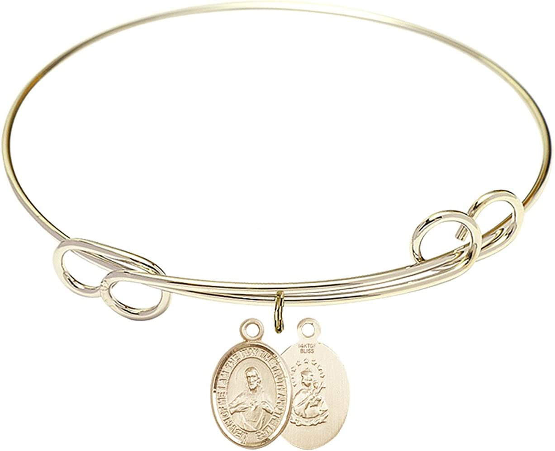 Direct stock discount DiamondJewelryNY Double Loop Bangle Bracelet with Cha a Scapular Inexpensive