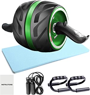 Ab Roller Wheel, 4-in-1 Ab Roller Kit with Knee Pad, Push-Up Bar, Jump Rope for Abdominal Exercise Home Gym, Core Workout Equipment for Both Men & Women