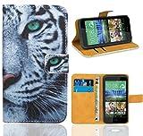 HTC Desire 320 Handy Tasche, FoneExpert Wallet Case Flip Cover Hüllen Etui Ledertasche Lederhülle Premium Schutzhülle für HTC Desire 320