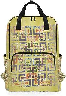 MONTOJ Mochila de Viaje Amarilla geométrica Mochila Escolar