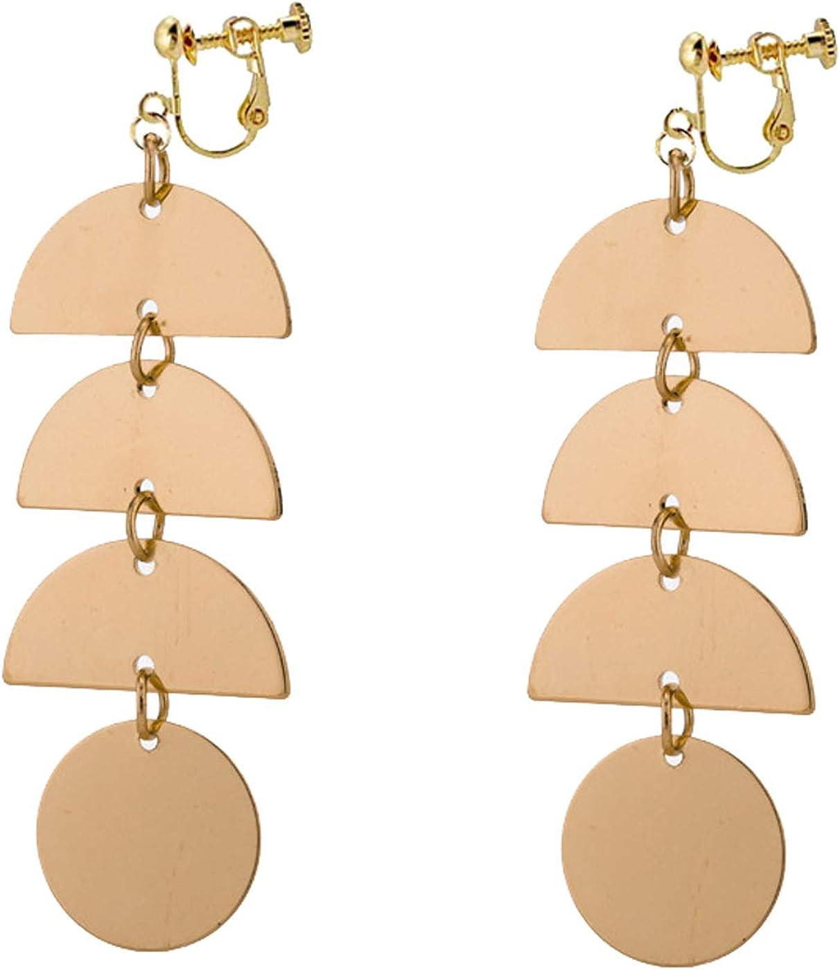 Vintage Statement Clip on Earrings for Women Girls Gold Tone Geometric Gypsy Disc Dangle Drop Long Tassel
