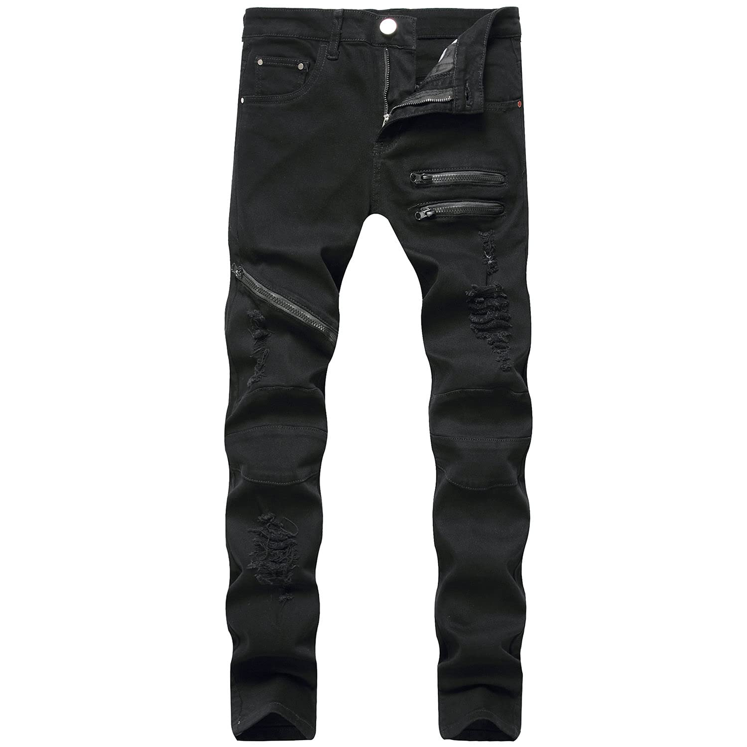 Men's Casual Slim Fit Solid Color New mail order Ranking TOP3 Ripped Deni Skinny Holes Jeans