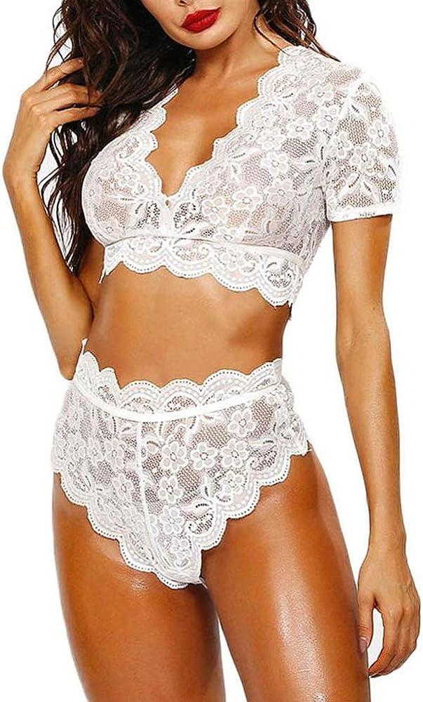 Women Sexy Lingerie Set Lace Bra and High Waist Panty 2 Pcs Babydoll Teddy Lingerie Bodysuit