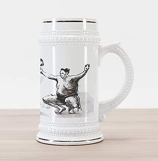 Lunarable Japan Beer Stein Mug, Sumo Martial Arts Theme in Hand Drawn Style Wrestlers Sportsmen Self Defence, Traditional Style Decorative Printed Ceramic Large Beer Mug Stein, Tan Black White