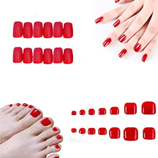 MISUD 48Pcs Colorful Fake Toe Nails Full Cover Press-on Hand and Foot All in Natural False Acrylic Nails Art Tips Set - Sexy Red